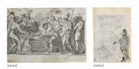 Alexander ordering the books of Homer to be preserved (recto); Study of a triumphal procession with a subsidiary study of the figure of Alexander (verso)