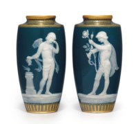A PAIR OF MINTONS PATE-SUR-PATE PEACOCK-BLUE VASES