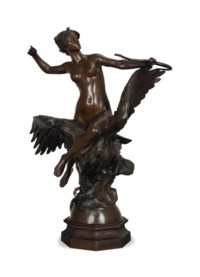 A FRENCH PATINATED-BRONZE FIGURAL GROUP ENTITLED 'DIANE CHEVAUCHANT AU AIGLE',