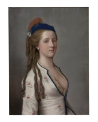 Portrait of Lady Ann Somerset, Countess of Northampton, half-length, wearing a floral dress with a lace shirt and a blue hat with a red feather