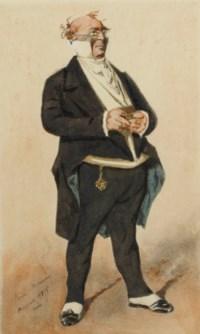 Homme debout tenant une tabatière