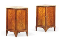 A PAIR OF LATE LOUIS XV TULIPWOOD, KINGWOOD AND MARQUETRY ENCOIGNURES