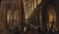 The interior of the Onze-Lieve-Vrouwe-Kerk in Antwerp with elegant figures conversing