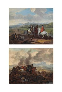 A hunting party; and A battle scene