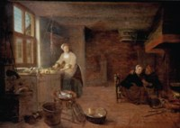 A kitchen interior with a woman preparing a meal and a couple by the fireplace
