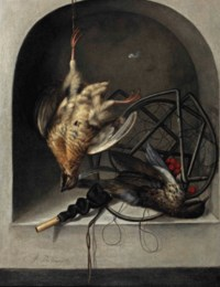 A partridge suspended from a nail, a starling, a trap and whistle in a stone niche