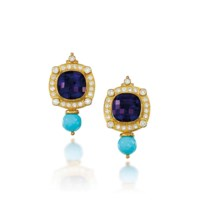 A PAIR OF 18 CARAT GOLD, AMETHYST, TURQUOISE AND DIAMOND EAR CLIPS, BY ELIZABETH GAGE