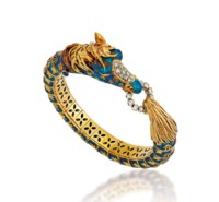 AN ENAMEL, GEM AND DIAMOND BANGLE, BY FRASCAROLO