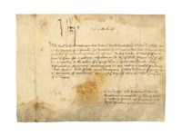 HENRY VII (1457-1509), king of England. Document signed ('H.R.'), Greenwich, 26 March 1498, letters patent to Sir Robert Lytton, 'o[u]r undretresourer of England and keper of oure grete Warderobe', his warrant for delivering to Oudet Taillefer, a groom of the chamber, 'thre[e] yerds ... of good ta[w]ney cloth w[i]t[h] asmoch whit lambe as wol suffice to furr the same for a gowne and two yerds of blak satyne w[i]t[h] stuffs for a doublet to be taken of o[u]r giest [chest] w[i]t[h]in o[u]r grete Warderobe', in English, on vellum, 9 lines on one membrane, 135 x 185mm (somewhat stained and soiled), remnant of papered signet seal at lower margin.