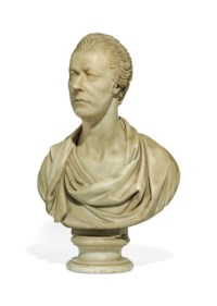 A CARVED MARBLE BUST OF WILLIAM PITT THE YOUNGER