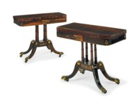 A PAIR OF REGENCY BRASS-MOUNTED CALAMANDER CARD TABLES