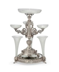 A VICTORIAN SILVER CELLINI PATTERN THREE-BRANCH CANDELABRUM/COMPORT CENTREPIECE ON MATCHING MIRROR PLATEAU WITH THREE VASES