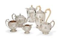A LATE VICTORIAN SCOTTISH SILVER THREE-PIECE BACHELOR'S TEA-SET