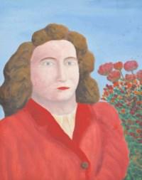 Portrait de femme à la robe rouge