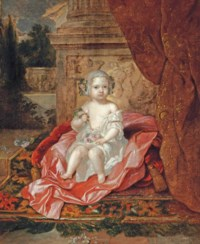 Portrait of a boy, full-length, holding flowers in his right hand, sitting on a pink drape, beside a column