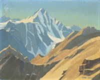 A mountain landscape, probably at Kulu, north west India