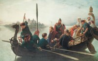 The lay of King Canute  Merrily sang the monks of Ely  As the King rowed by