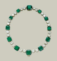 A MAGNIFICENT EMERALD AND DIAMOND NECKLACE, BY CARTIER