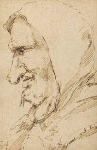 Head of a man with growths on his neck, in profile to the left