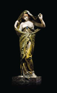 A FRENCH GILT-BRONZE, LAPIS LAZULI AND WHITE MARBLE FIGURE, ENTITLED 'LA NATURE SE DEVOILANT DEVANT LA SCIENCE' (NATURE REVEALING HERSELF BEFORE SCIENCE)
