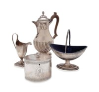AN ASSEMBLED GROUP OF GEORGE III SILVER TEA AND COFFEE WARES,