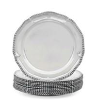 AN ASSEMBLED SET OF TWELVE GEORGE III SILVER DINNER PLATES