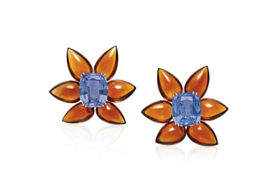 A PAIR OF SAPPHIRE AND CITRINE