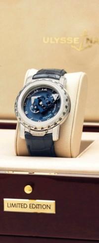 Ulysse Nardin. A Limited Edition Platinum Tourbillon Wristwatch with Dual Ulysse Escapement and Diamond-Set Hands