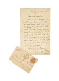"""ZOLA, Émile (1840-1902). Lettre autographe signée à Paul Verlaine. """"Médan 8 août [18]88""""."""