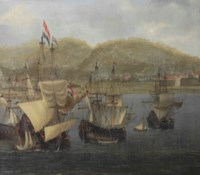 Four VOC three-masters at anchor in front of a colonial fortress
