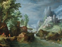 A mountainous river landscape with travelers crossing a bridge, a town on the mountainside to the right