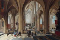 The interior of a gothic cathedral, with elegant figures conversing and a priest taking mass