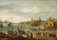 Fishermen bringing in the catch, elegant figures purchasing fish on the bank and numerous other figures, a fortified town beyond