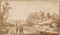 A landscape with herdsmen and their flock and travellers on a road near a house