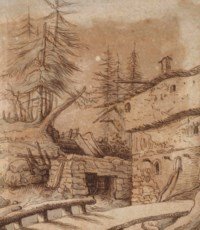 A watermill in a mountainous landscape