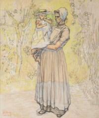 Woman with child in local Dutch attire, Zeeland