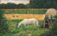 Paysage avec cheval
