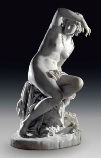 AN ITALIAN MARBLE FIGURE OF A FEMALE NYMPH, ENTITLED 'LA BAGNANTI' (BATHING WOMAN)