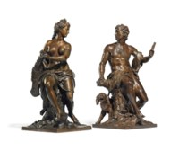 A PAIR OF FRENCH PATINATED BRONZE FIGURAL GROUPS OF DIANA  AND ADONIS