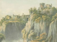 The Temple of Sibyl, with the Falls of Tivoli below