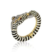 AN ENAMEL AND DIAMOND ZEBRA BANGLE, BY FRASCAROLO