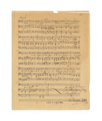 MENDELSSOHN BARTHOLDY, Felix (1809-1847). Autograph music manuscript signed ('Felix Mendelssohn Bartholdy'), 'Lied von Rückert für eine Alt-Stimme mit Begleitung des Pianoforte', Berlin, 27 April 1842, an unpublished song, 'Des Menschen Herz ist ein Schacht', 29 bars for voice and piano in 5 systems of three staves, in A flat major, a neat, typically elegant manuscript with only two minor textual corrections, inscribed to Privy Councillor [Johann Valentin] Teichmann, 'auf ausdrückliche Bestellung niedergeschrieben' ('written at his express request'), superscribed in autograph with the invocation 'H[ilf] d[u] m[ir]', on one page, large 4to (302 x 228mm), on a bifolium, autograph title page (somewhat browned, splitting affecting a strip to upper margin of music page, the title page somewhat marked and soiled); with an autograph letter signed by Mendelssohn to Teichmann, Leipzig, 3 May 1842, asking him not to circulate the song, 'weil ich es nur auf Ihren Wunsch und nur für Sie geschrieben habe', although as Teichmann has already shown it to the bookseller [Wilhelm] Besser, he may give him a copy, one page, 8vo (231 x 142mm), laid onto verso of title (minor splitting and loss to lower corners). Provenance: T.O. Weigel, Catalogue d'une belle collection de lettres autographes dont la vente publique aura lieu à Leipzig, 12 Juin 1862, lot 490; catalogue of List & Franke, 23 January 1872, 139, no. 2569.   A LOST MENDELSSOHN SONG. Since its tantalising appearance in two Leipzig auction catalogues in 1862 and 1872, the song has become something of a classic case of a lost Mendelssohn work. The text is drawn from the second stanza of Rückert's poem 'Das Unveränderliche'. The recipient of the song, Johann Valentin Teichmann (1791-1860), was active for more than forty years as 'geheimer Secretär' in the office of the general management of the royal theatre in Berlin, for which his published Literarische Nachlass is an important source.  He lived on an upper floor at the Mendelss