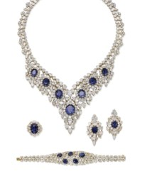 A SAPPHIRE AND DIAMOND SUITE OF JEWELLERY, BY TABBAH