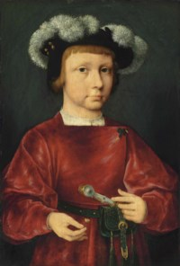 Portrait of a young nobleman, small half-length, in a crimson doublet, wearing a plumed beret, holding a daisy