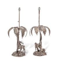 A PAIR OF SPANISH SILVERED-METAL TABLE LAMPS