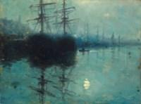 Moonlit harbour scene