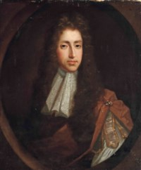 Portrait of a gentleman, half-length, in a brown coat and white lace cravat, in a painted oval