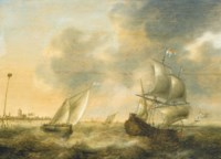A Dutch man-o'war and a smalschip off the Low Countries