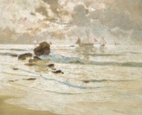 Moonlit vessels off the coast