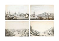 Four views of Bristol: View of St. Mary Redcliffe Church, near the sea banks, Bristol; View of the Avon and Bristol Channel; View of Clifton Hill from sea banks, near Bristol; and View of the Hotwell, Bristol (all illustrated)